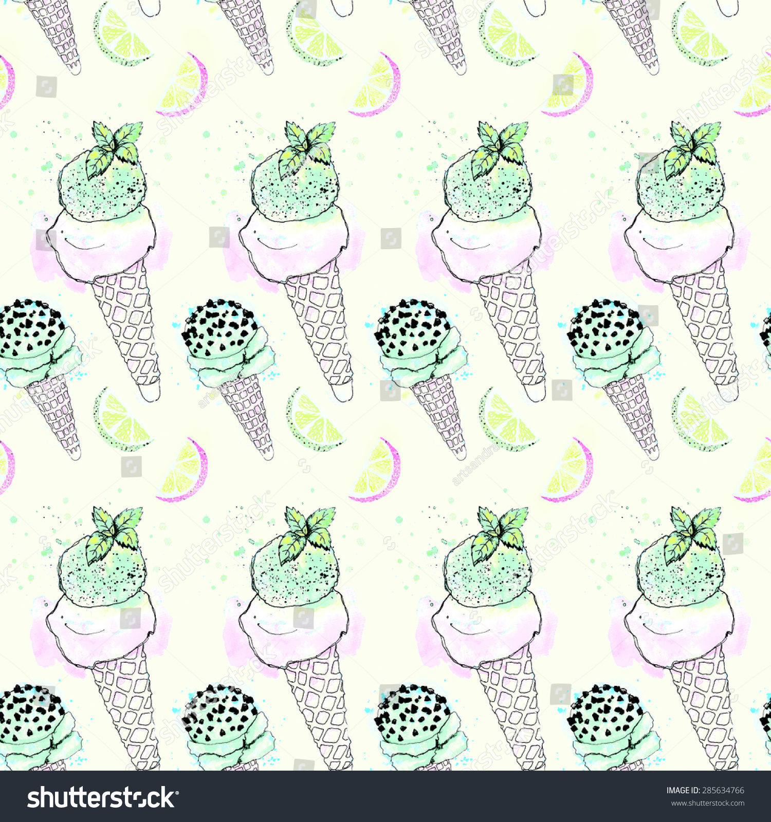 Seamless Pattern With Hand Drawn Watercolor Ice Cream: Watercolor Ice Cream Cone Seamless Pattern Stock