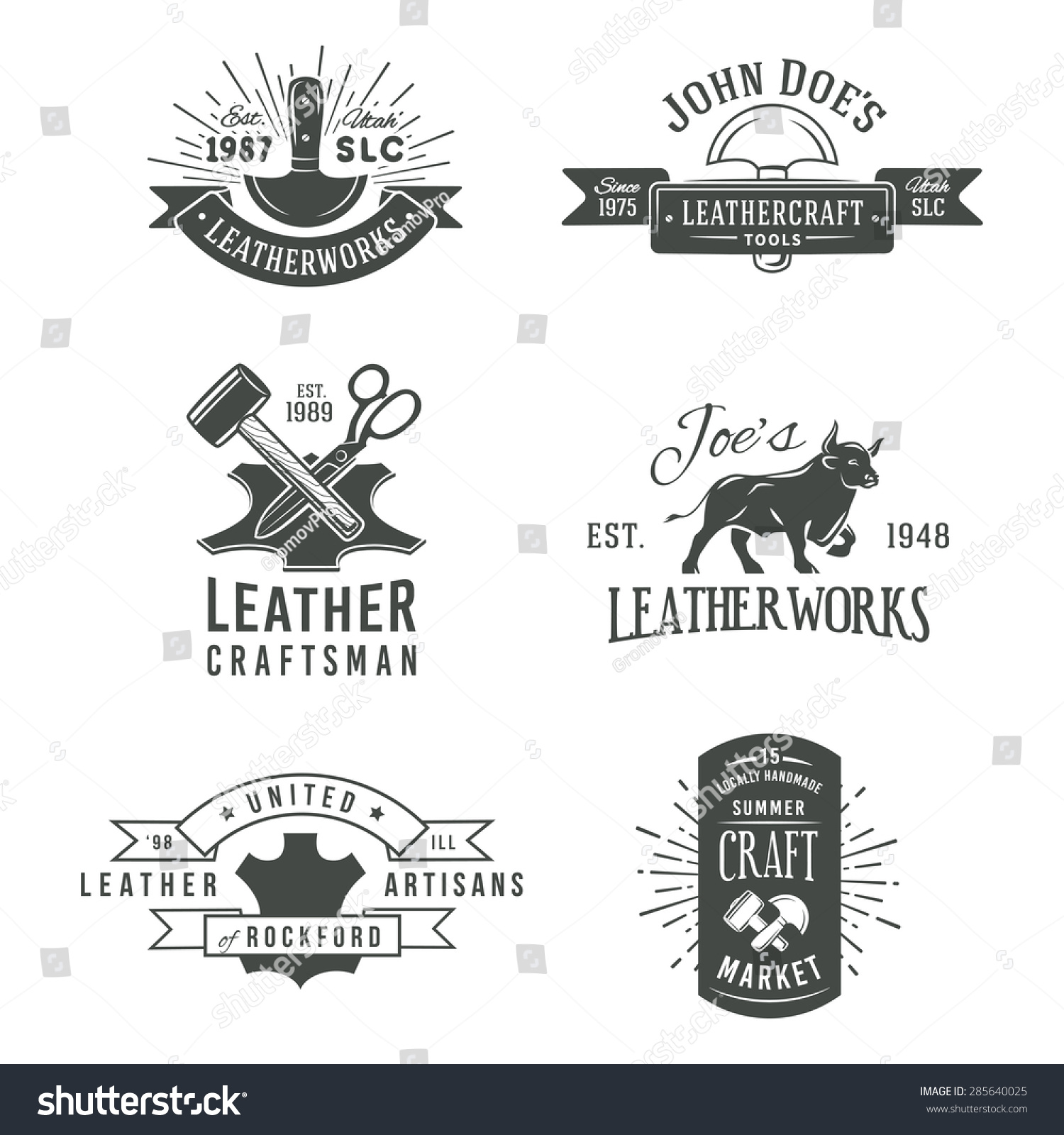 First Set Grey Vector Vintage Craft Stock Vector Royalty Free