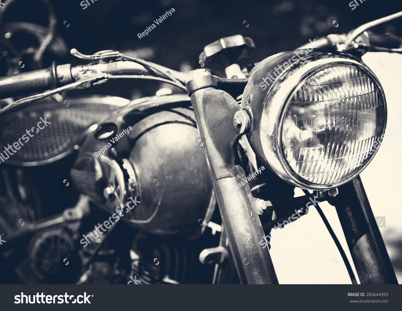 Vintage Motorbike Focus On Headlamp Retro Stock Photo Edit Now