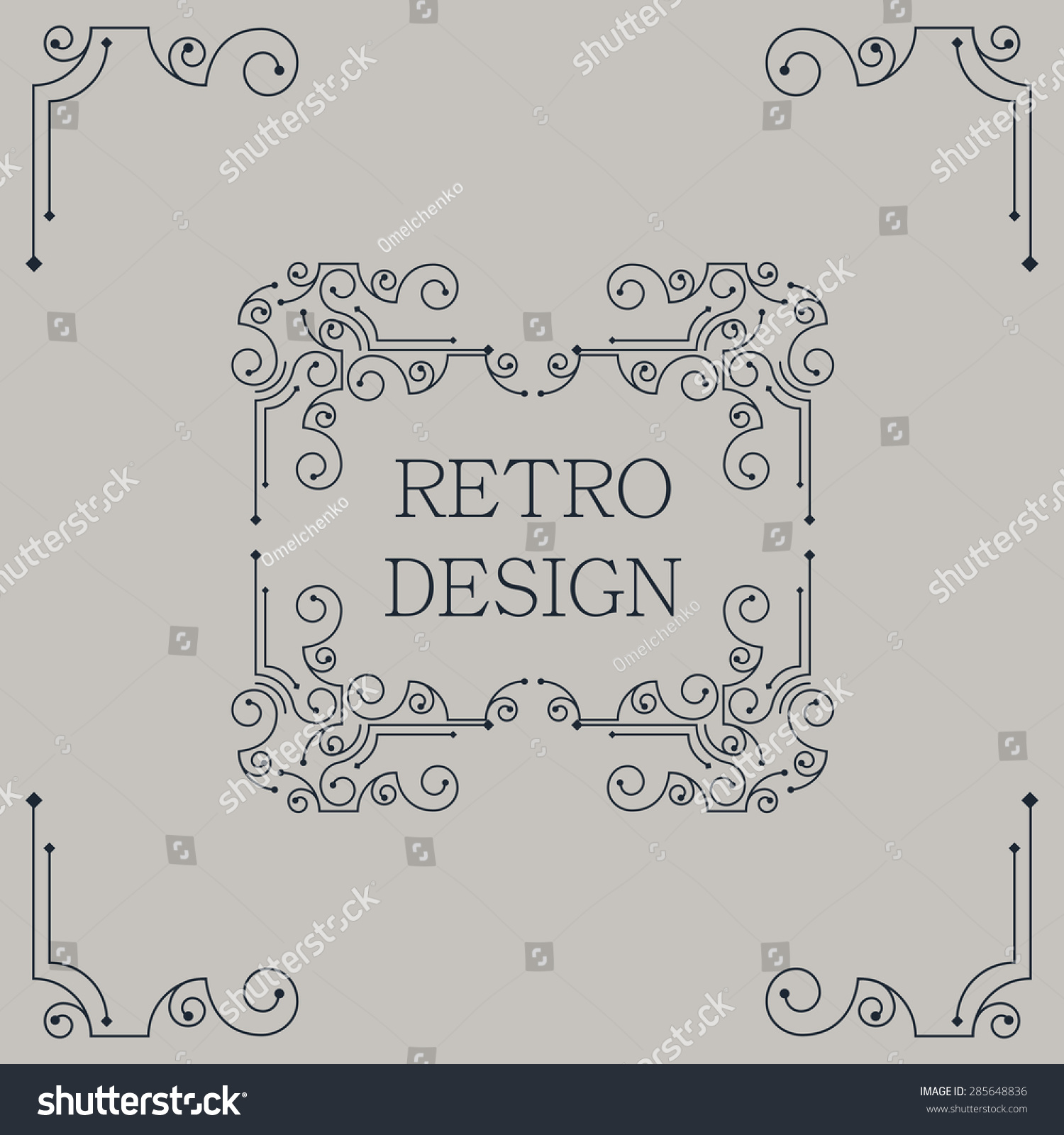 Vector Vintage Decorative Frames Retro Design Stock Vector 285648836