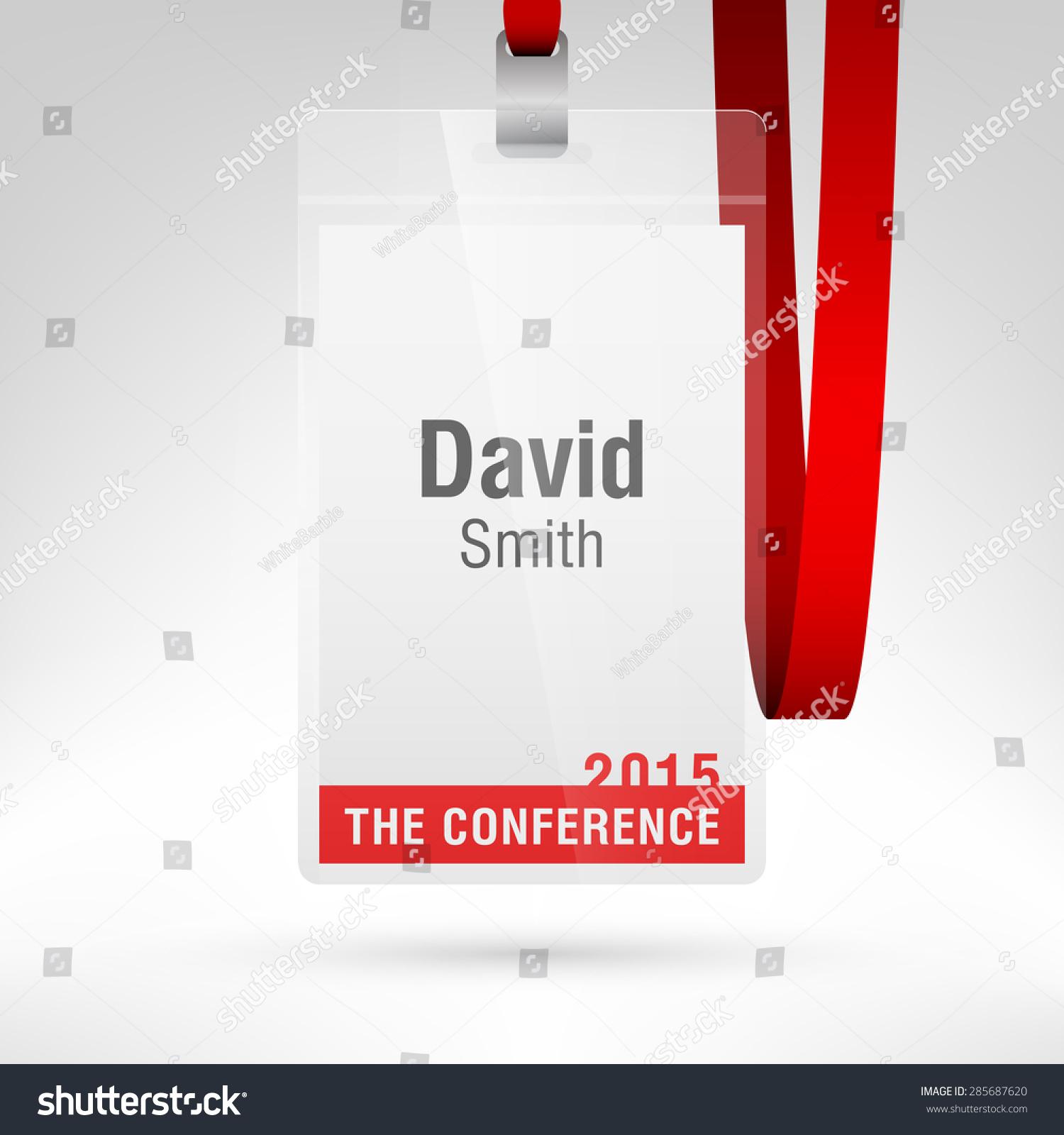 conference badge name tag placeholder blank stock vector 285687620 shutterstock. Black Bedroom Furniture Sets. Home Design Ideas
