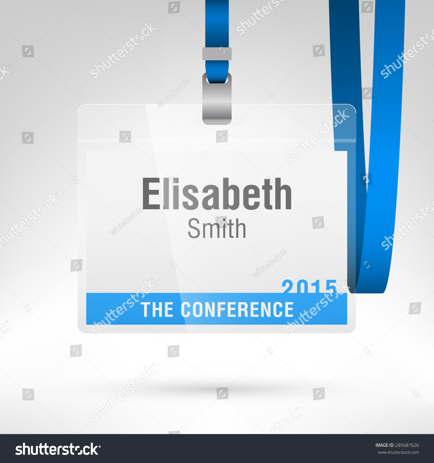 Conference Badge Name Tag Placeholder Blank Stock Vector - Conference name badges template