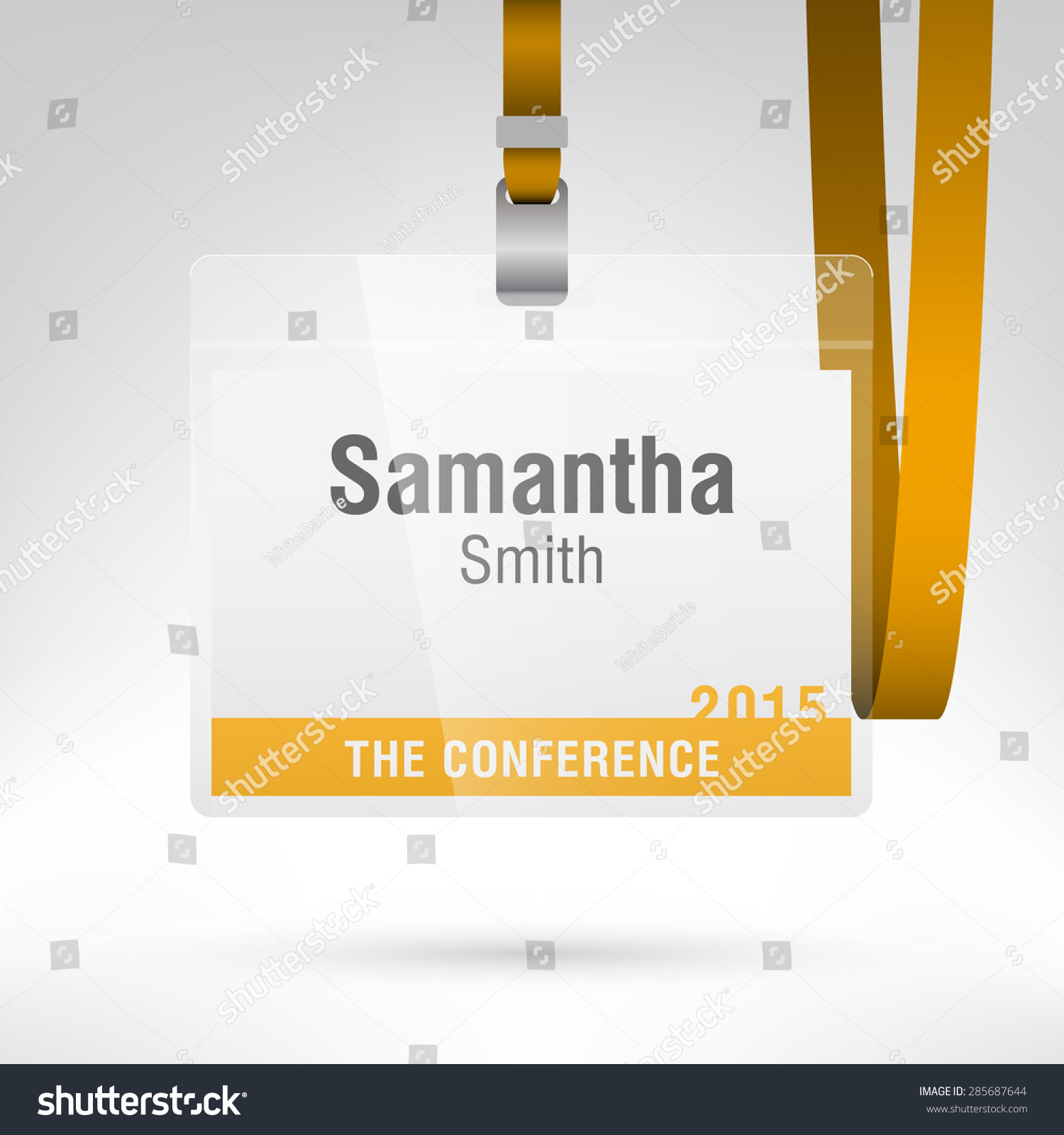 Conference Badge Name Tag Placeholder Blank Stock Vector - Conference badge template