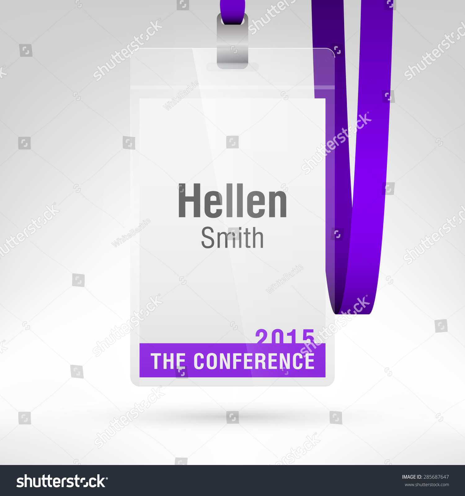 Conference badge name tag placeholder blank stock vector royalty conference badge with name tag placeholder blank badge template in plastic holder with violet lanyard maxwellsz