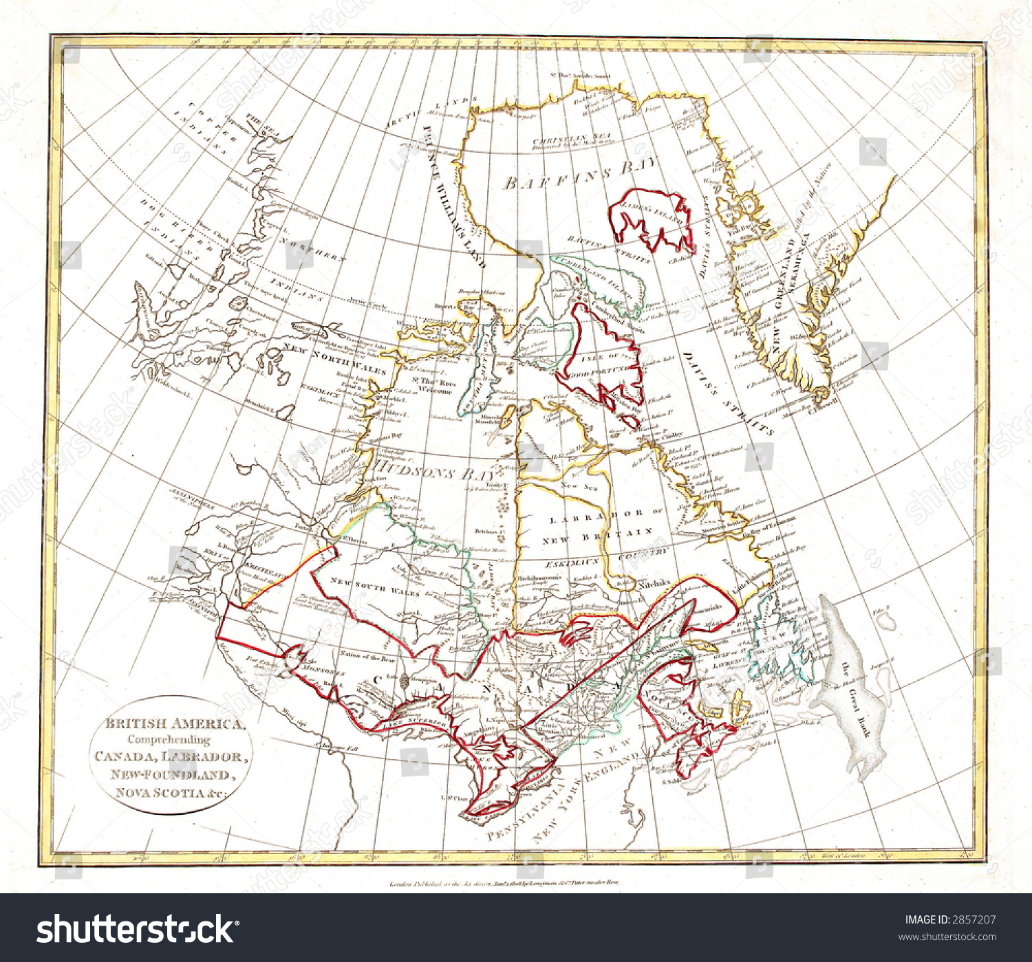 early map of eastern canada greenland and the arctic printed in london 1808