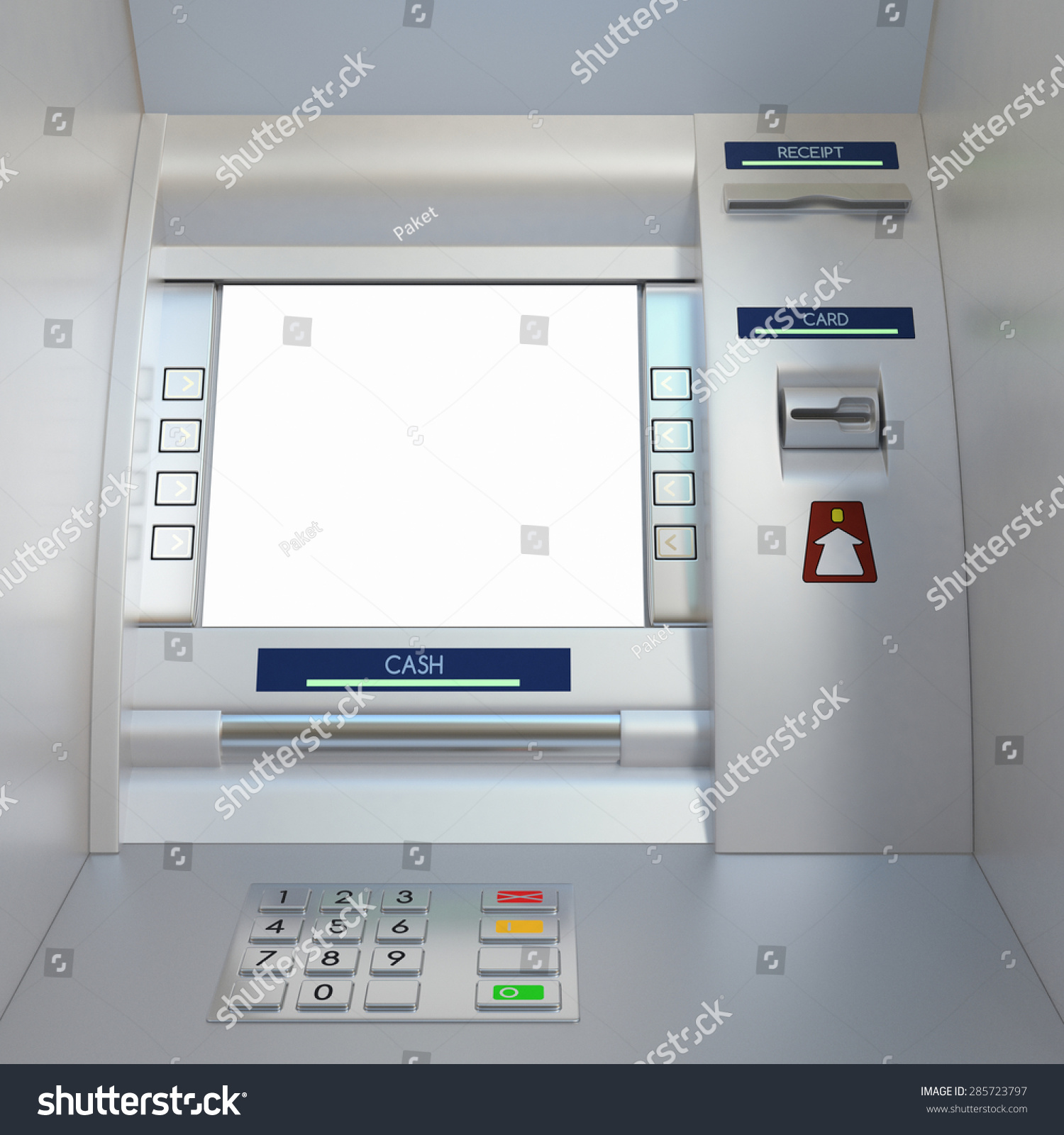 Atm Machine Display Screen Buttons Card Stock Illustration