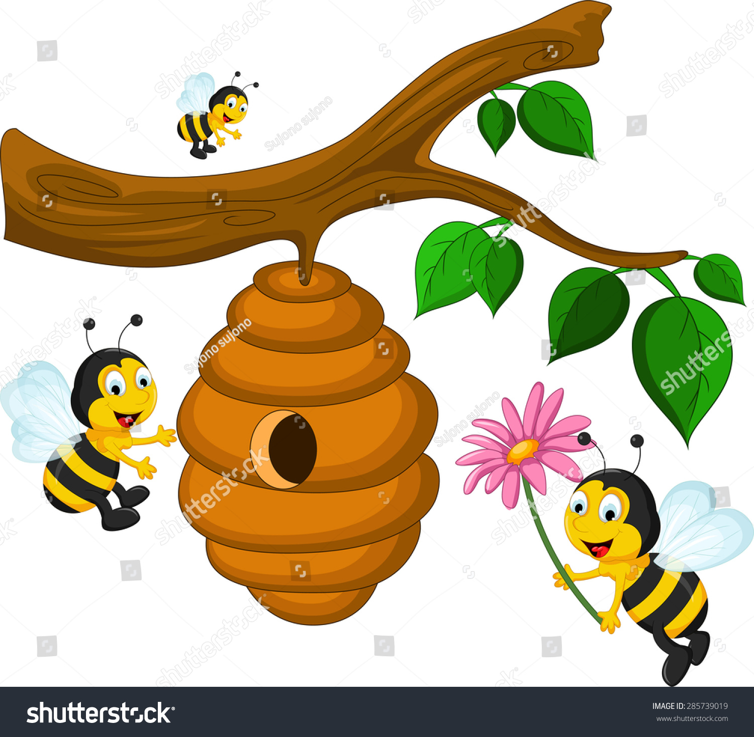bees cartoon holding flower beehive stock vector 285739019