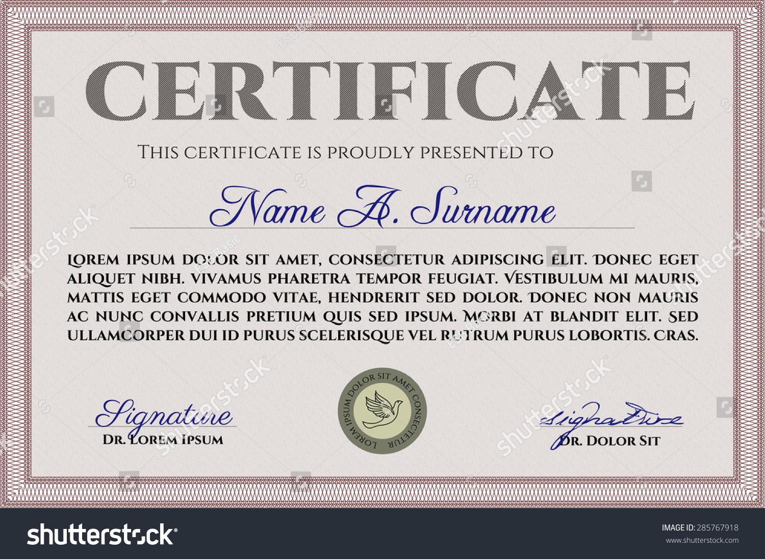 Certificate Template Diploma Template Quality Background Stock