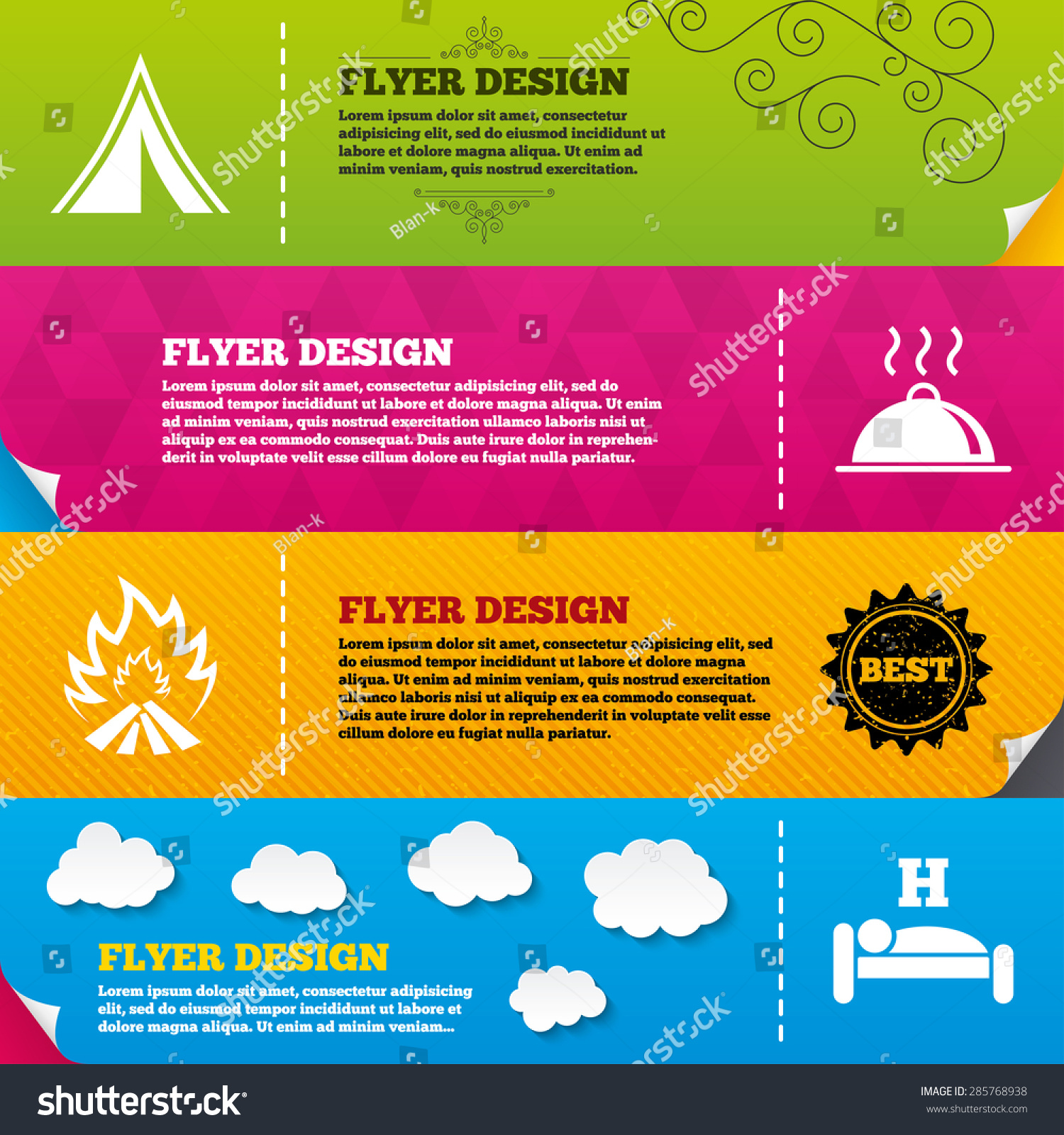 flyer brochure designs hot food sleep stock vector  flyer brochure designs hot food sleep camping tent and fire icons hotel