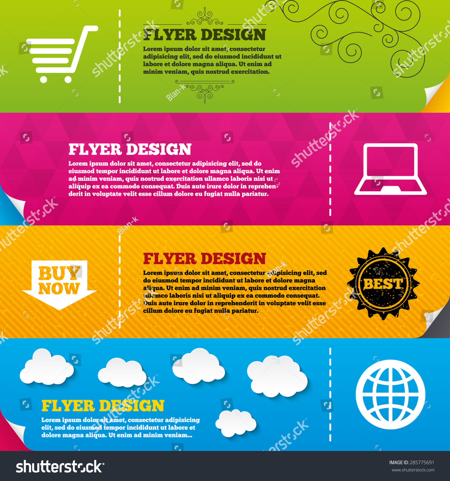 Online Brochure Design Templates Set Infographics Flyer Brochure