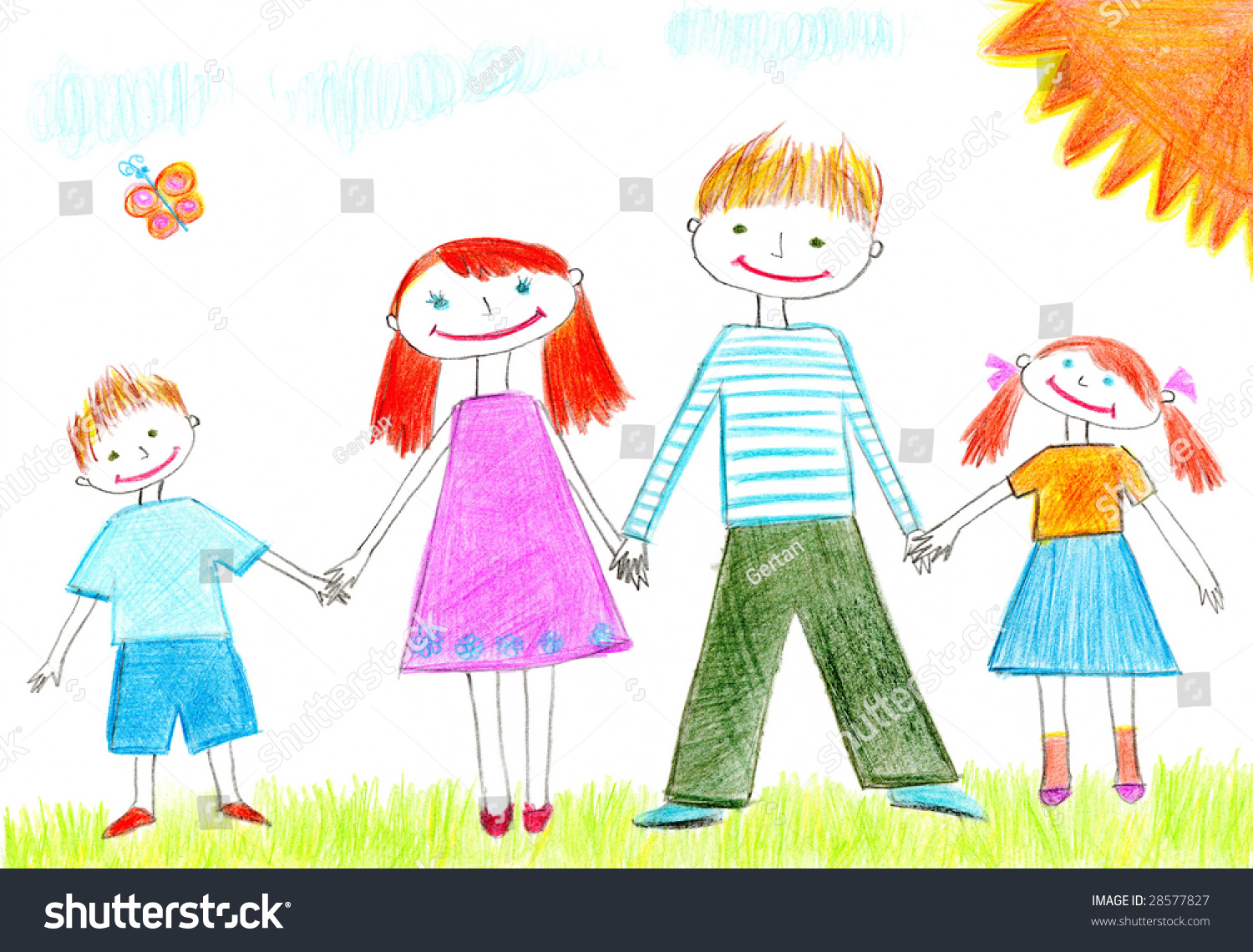 Sketch cartoon happy family standing together. Cute doodle