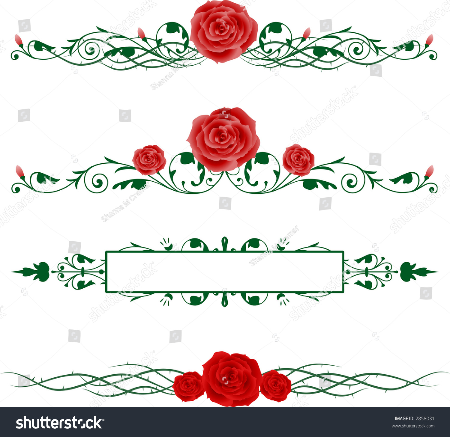 Horizontal Borders Red Pink Roses Green Stock Vector ...
