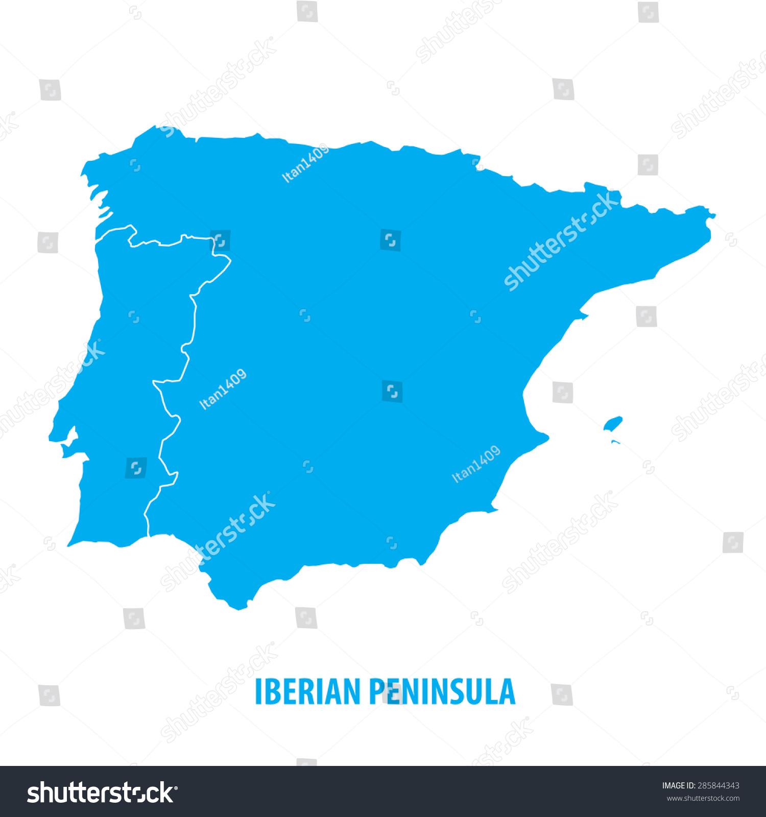 Iberian Peninsula Spain Portugal Stock Vector Shutterstock - Portugal map iberian peninsula