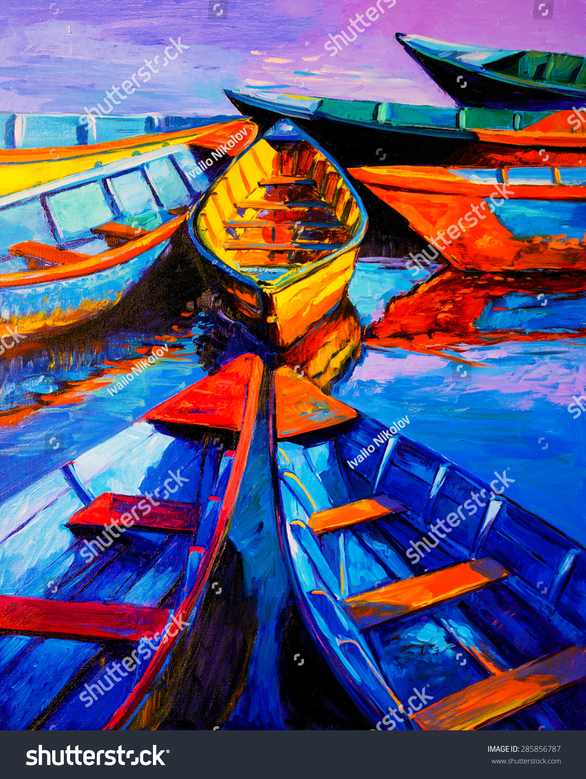 Original oil painting on canvas boats stock illustration for What paint for canvas