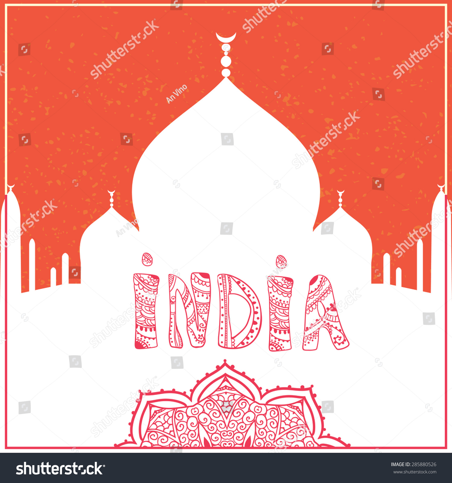 Greeting Beautiful Card Taj Mahal Frame Stock Vector Royalty Free