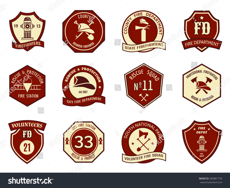 fire department logo badges set symbol stock illustration 285881759 shutterstock. Black Bedroom Furniture Sets. Home Design Ideas