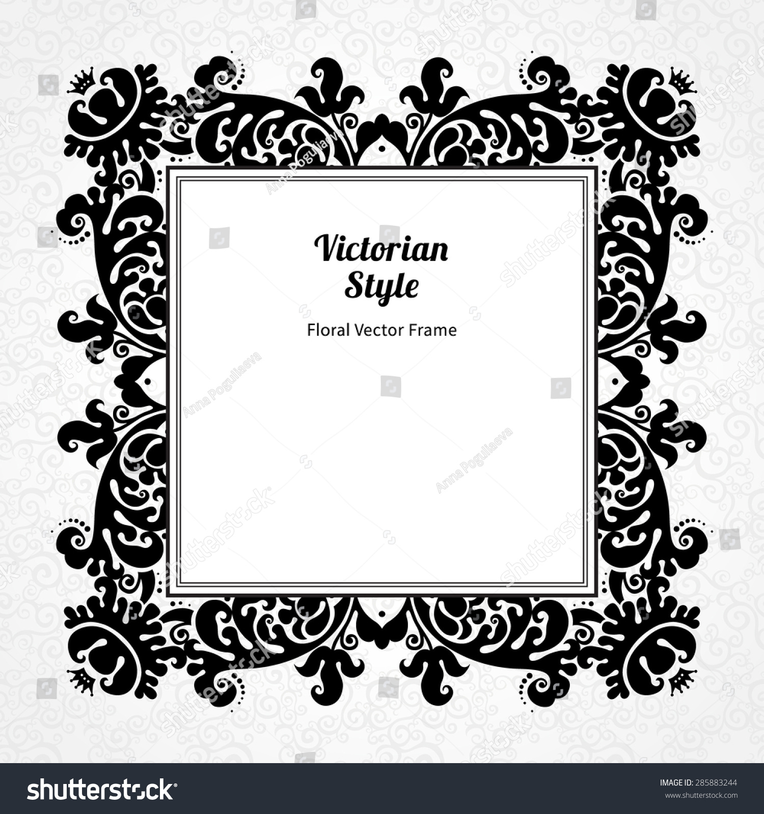 Border frame victorian A4 Size Vector Decorative Frame In Victorian Style Elegant Element For Design Template Contrast Black And White Border Floral Decor For Birthday And Greeting Shutterstock Vector Decorative Frame Victorian Style Elegant Stock Vector