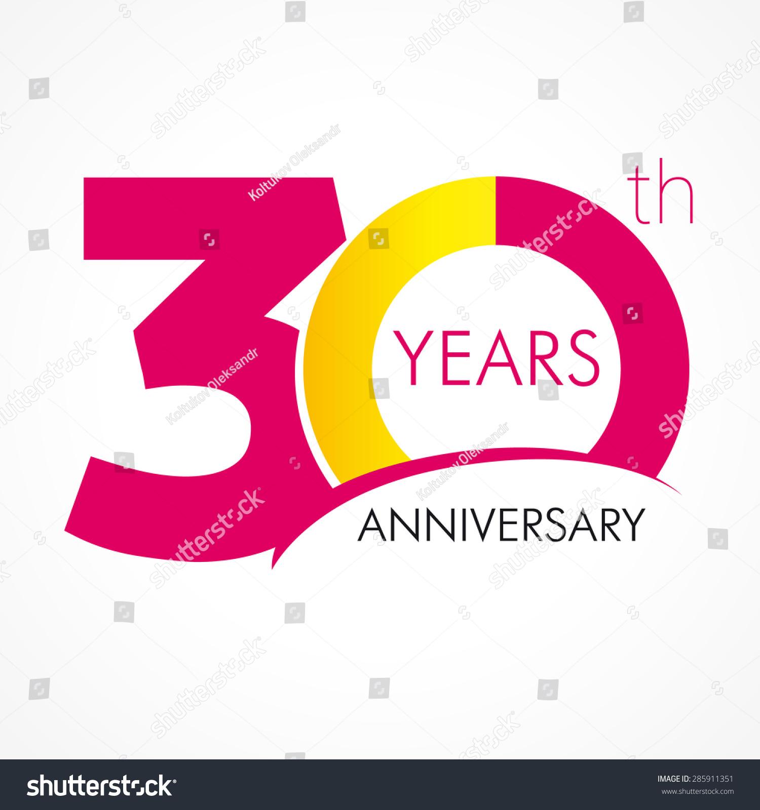 30 Year Anniversary Symbol: Template Logo 30th Anniversary Circle Form Stock Vector