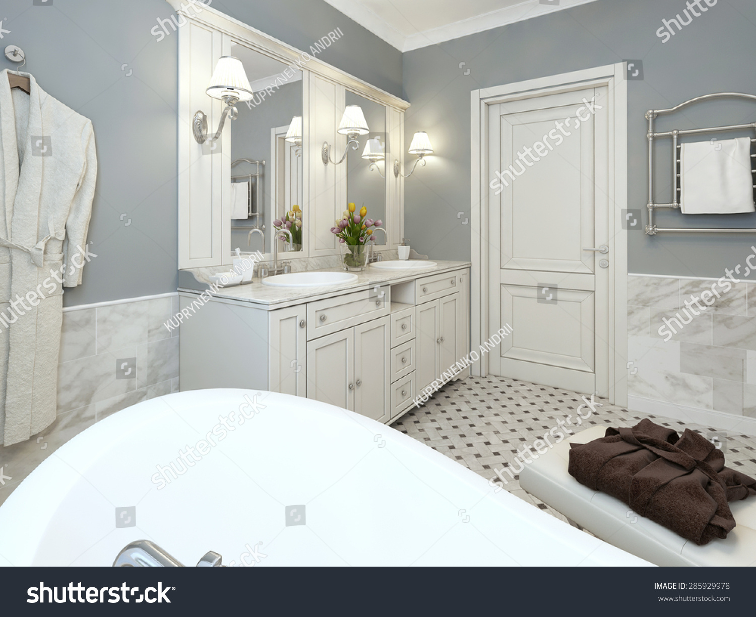 Bathroom Design Provence Blue White Colors Stock Illustration ...