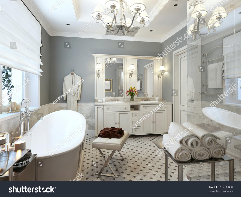 Bathroom design provence blue white colors stock for Provence bathroom design