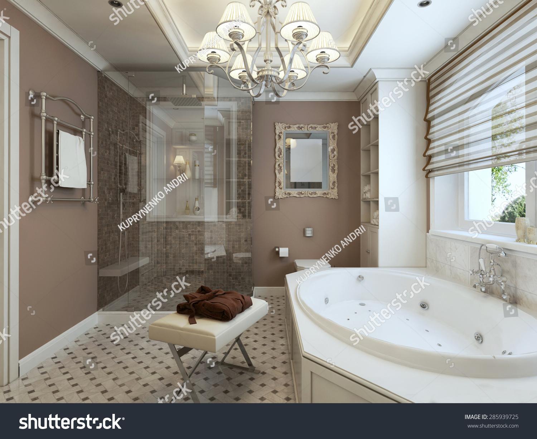 Bathroom art deco 3d render stock illustration 285939725 for 3d bathroom drawing