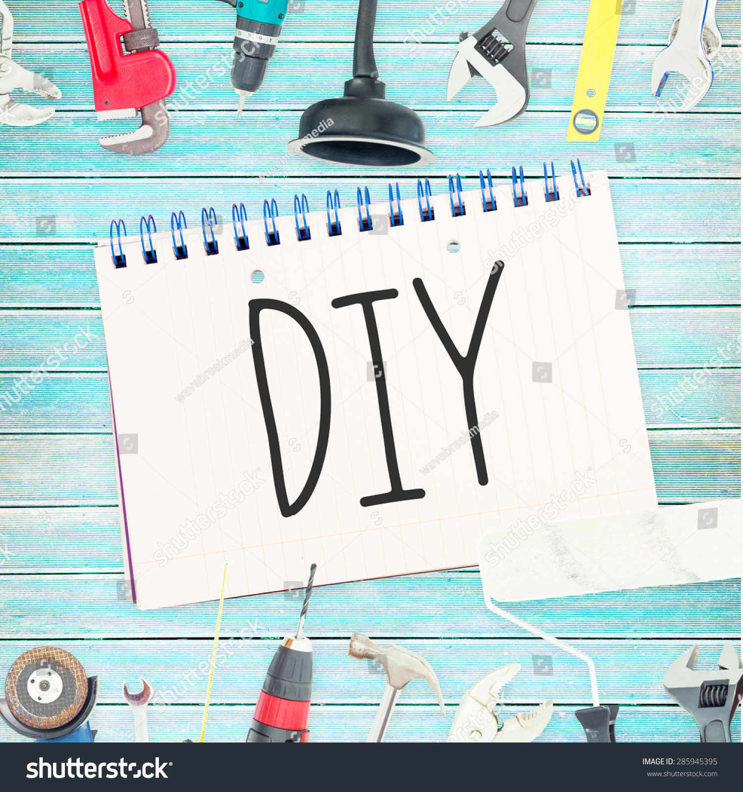 Word diy against tools notepad on stock illustration for Diy pictures