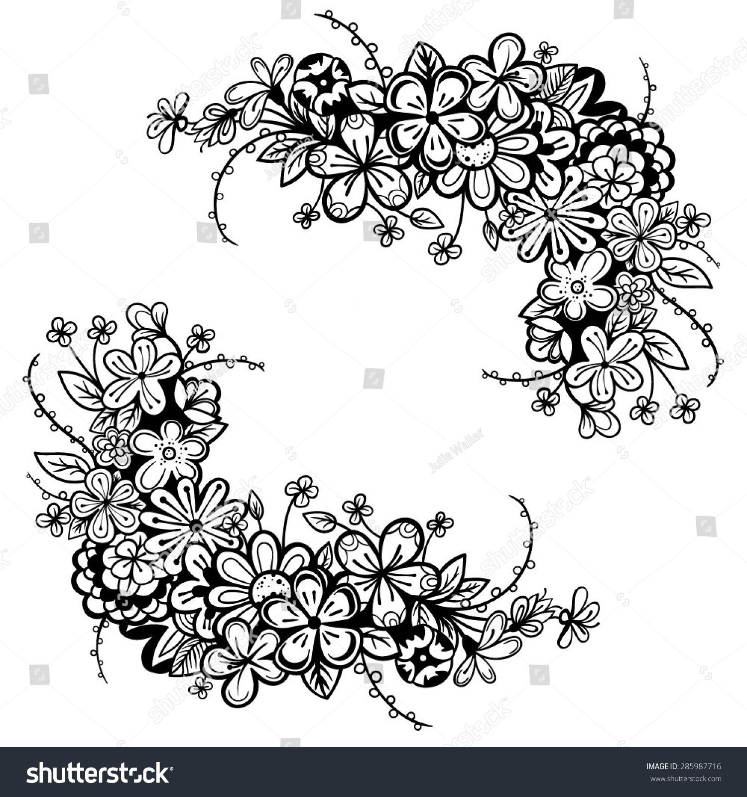 Vector Black White Flower Frame Stock Vector Royalty Free