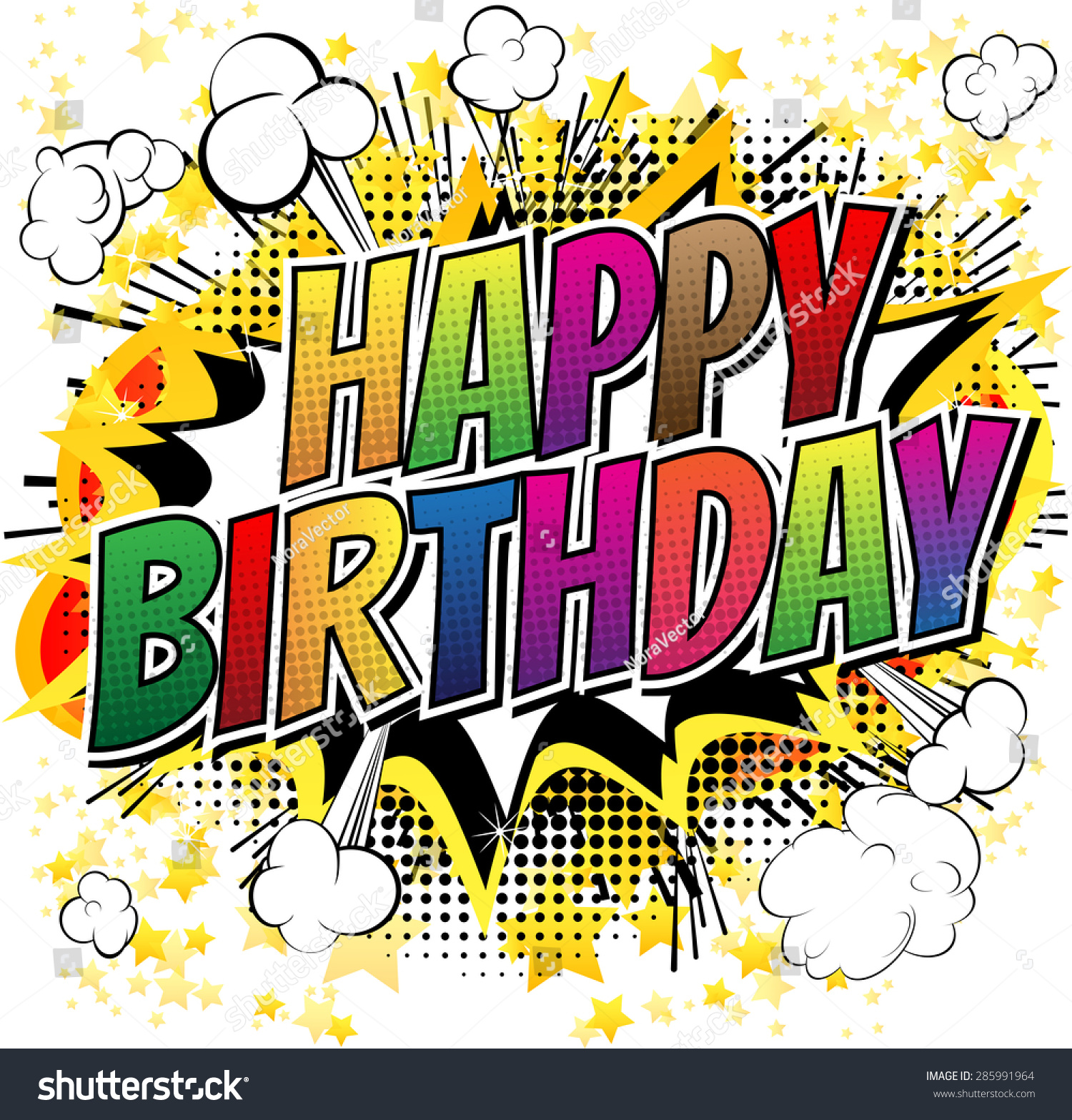 Happy Birthday Comic Book Style Card Image Vectorielle 285991964