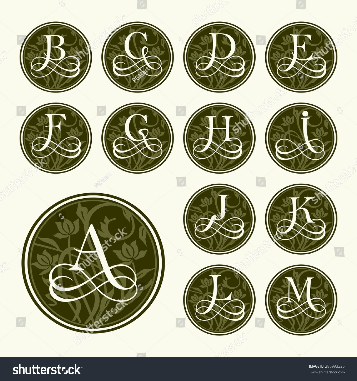 vintage set capital letters floral monograms and beautiful filigree font art deco nouveau