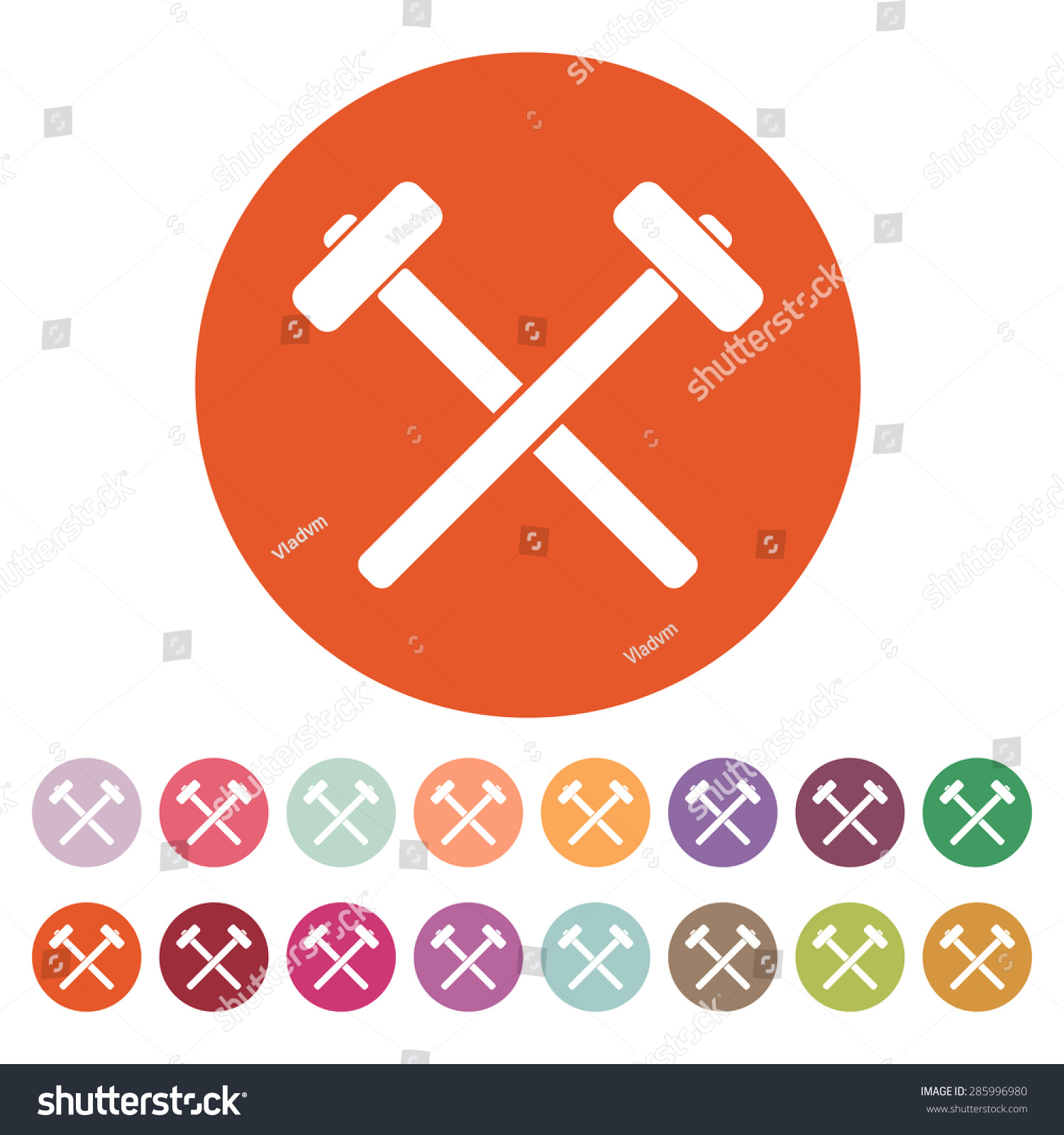 Hammer Icon Sledgehammer Symbol Flat Vector Stock Vector 285996980