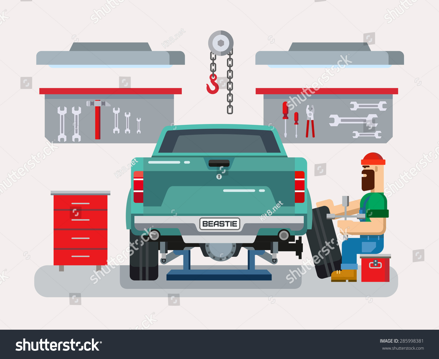 Auto mechanic fixing car auto repair stock vector for Garage reparation auto