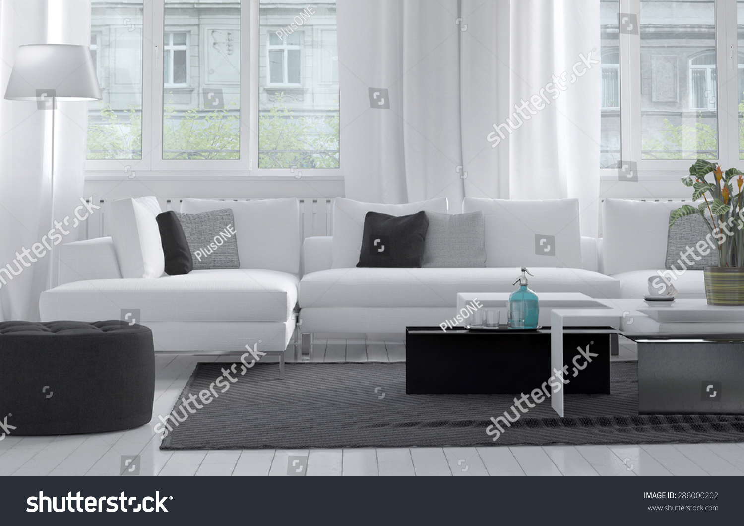 Comfortable Modern Living Room Interior With A Close Up View Of A
