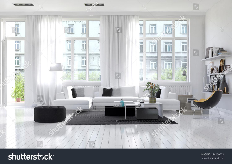 Large Spacious Modern White Living Room Stock Illustration 286000271 ...