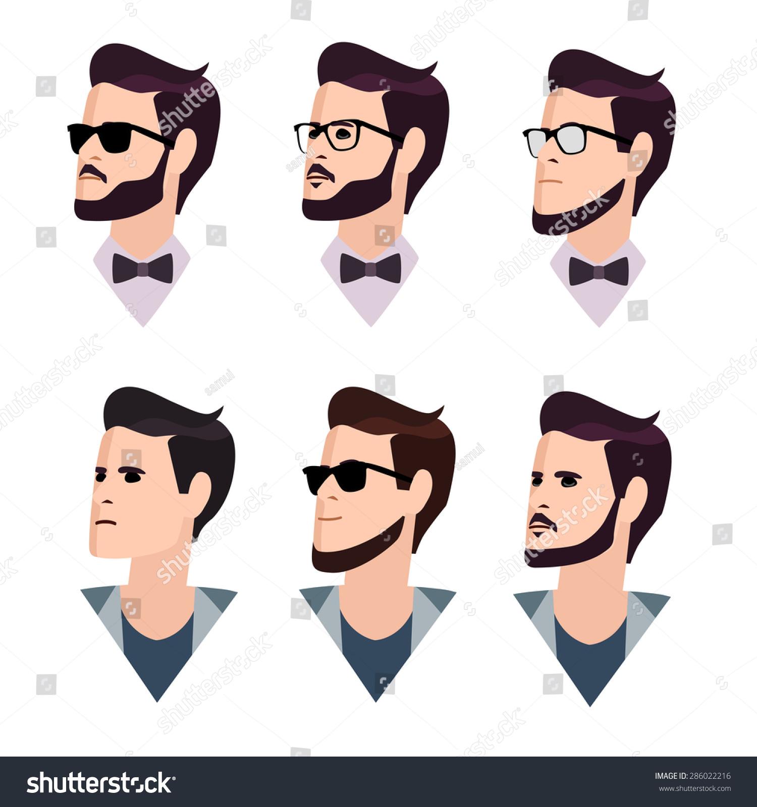 Flat Cartoon Hipster Character Set Vector Stock Vector ...