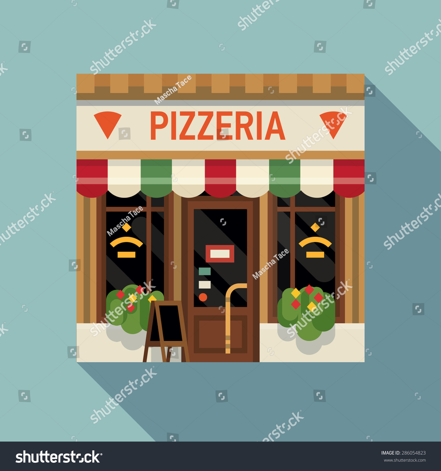 Vector De Stock Libre De Regalias Sobre Cool Vector Detailed Flat Design Pizzeria286054823