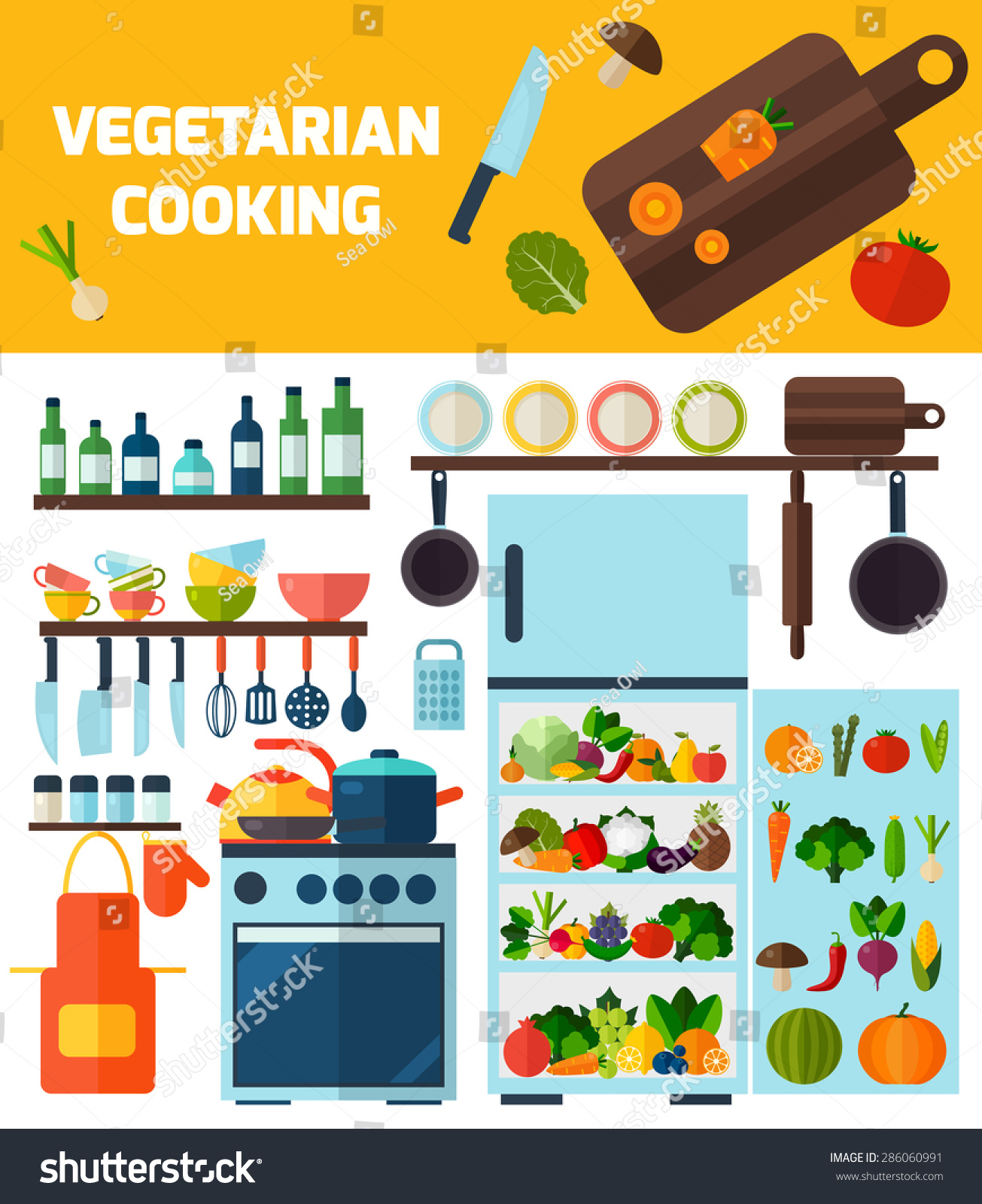 Flat Kitchen Vegetarian Cooking Icons Cooking Stock Vector (Royalty ...