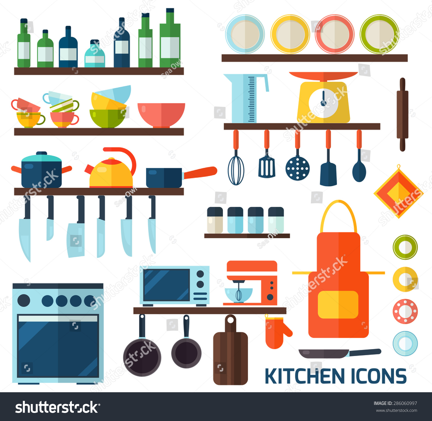 Cooking tools kitchenware equipment symbol collection for Culinary kitchen equipment
