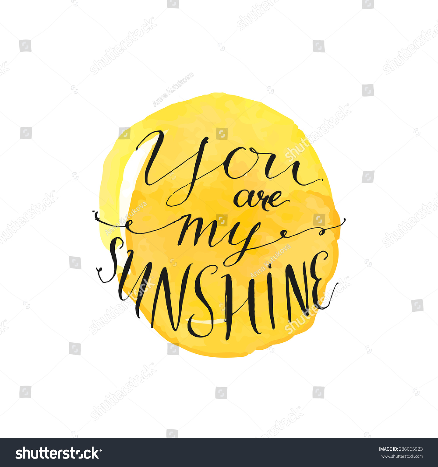 Yellow watercolor circle modern calligraphy quote stock