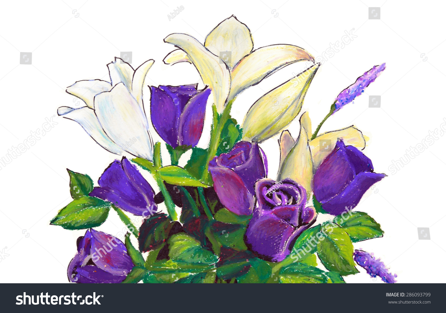 Beautiful purple roses white lilies flower stock illustration beautiful purple roses and white lilies in a flower arrangement in a hand painted oil pastel izmirmasajfo