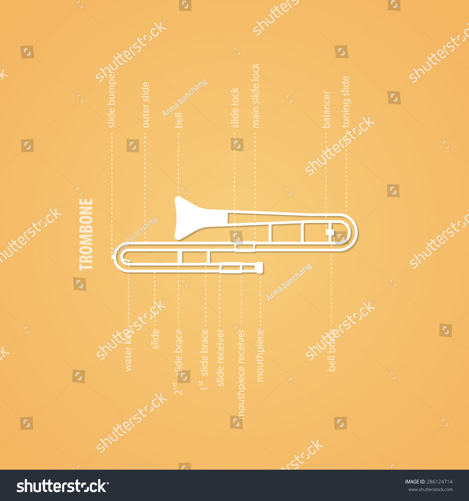 Trombone Parts Stock Vector (Royalty Free) 286124714
