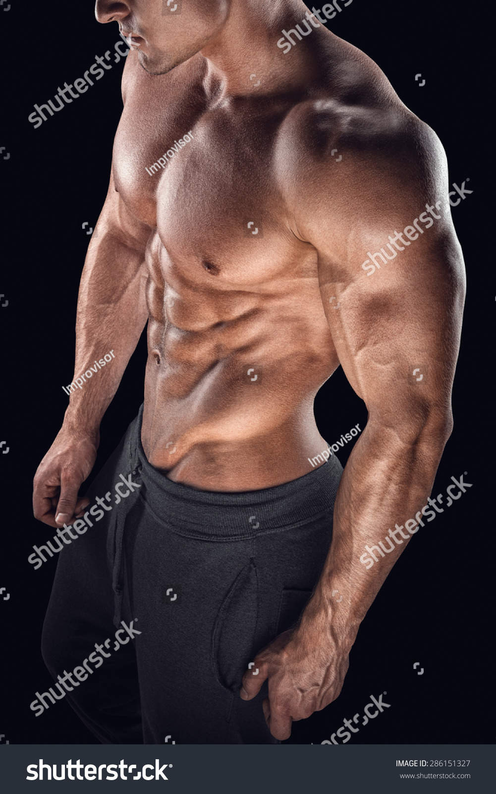 Close Up Perfect Abs Strong Bodybuilder Six Pack Stock