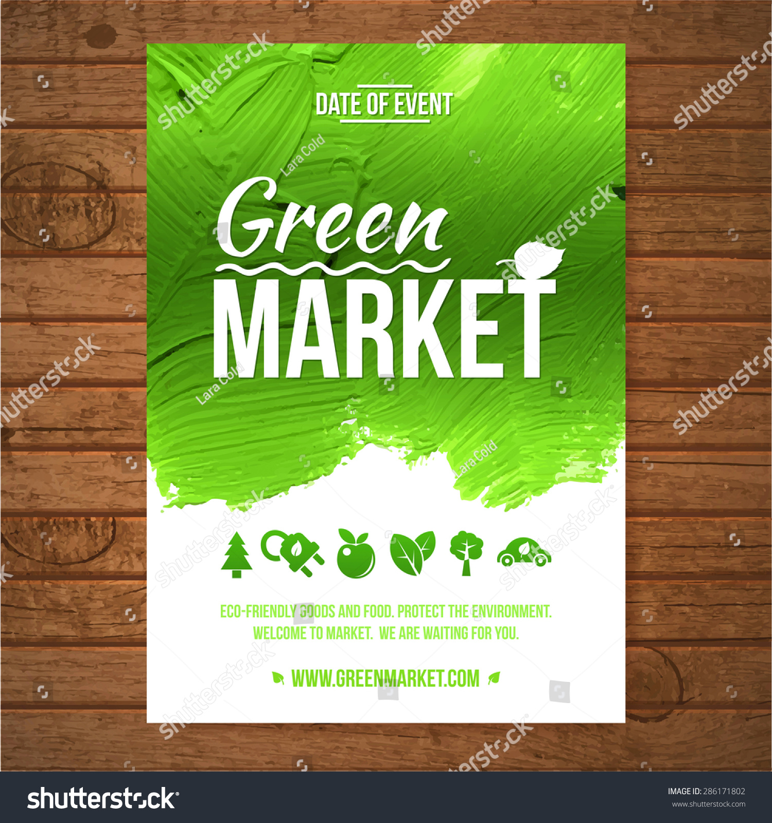 Ecology green market invitation poster green stock vector royalty ecology green market invitation poster green stroke trees and shrubs on wood background stopboris Gallery