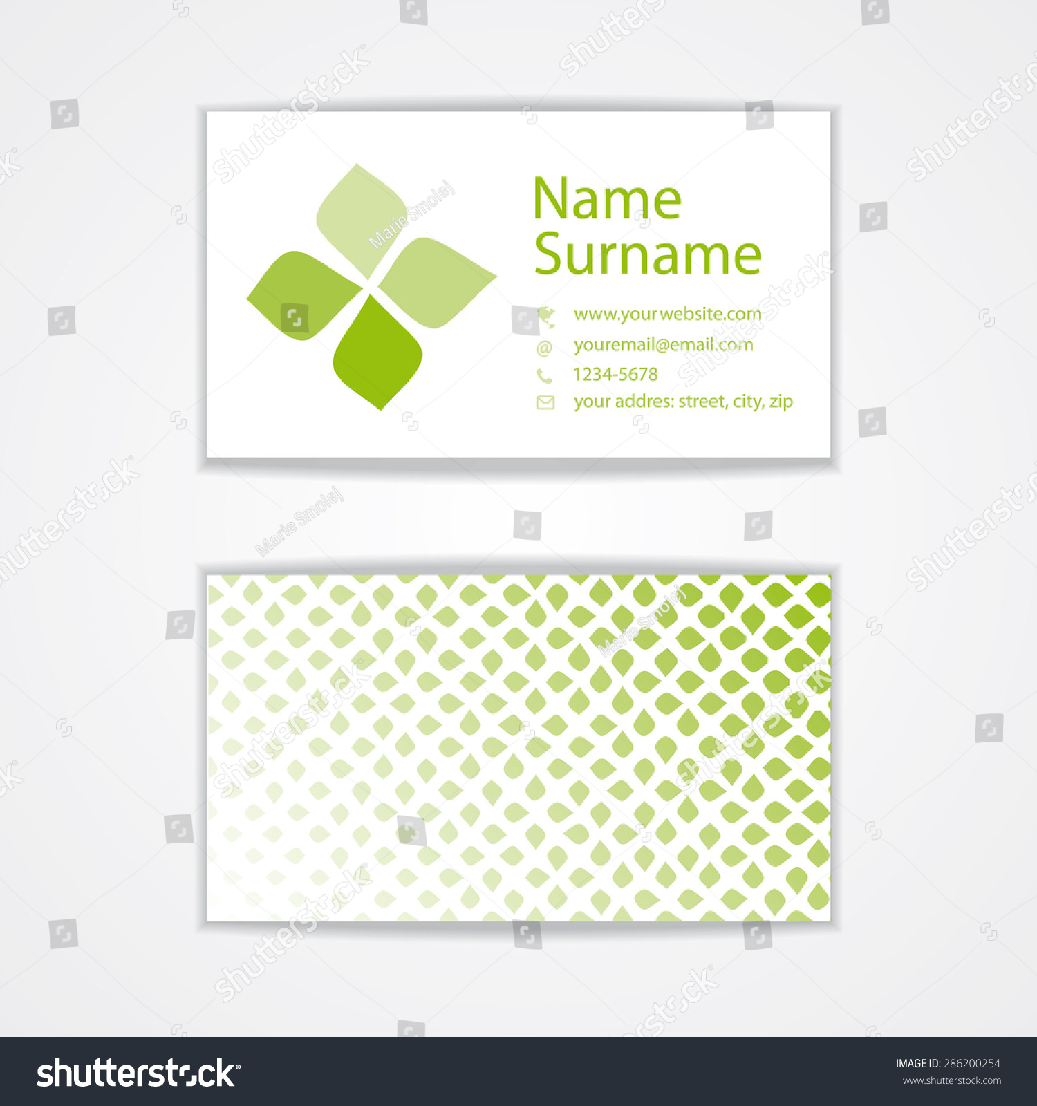 Vector Simple Visiting Business Card Template Stock Vector Royalty