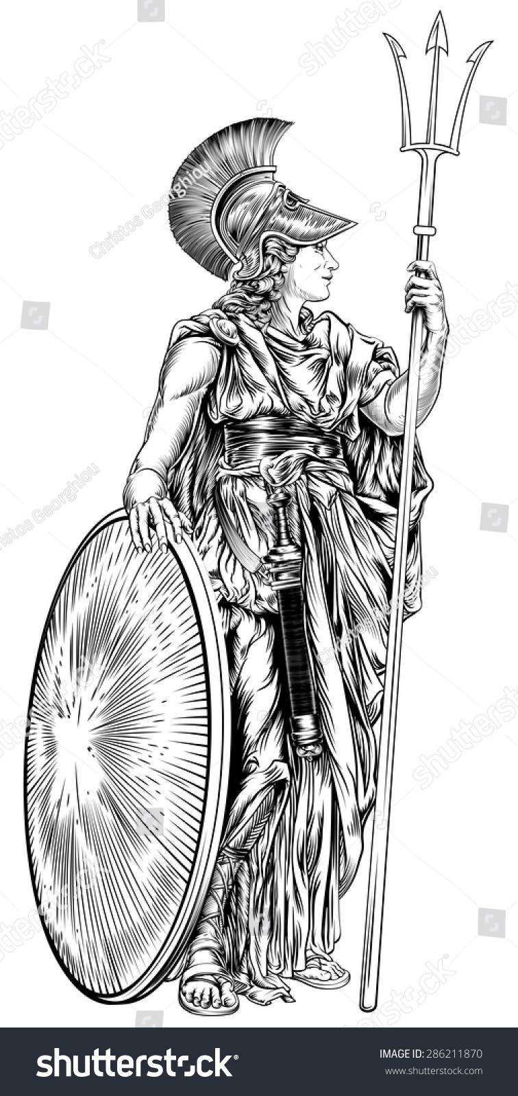 Illustration Mythological Greek Goddess Athena Holding Stock Vector