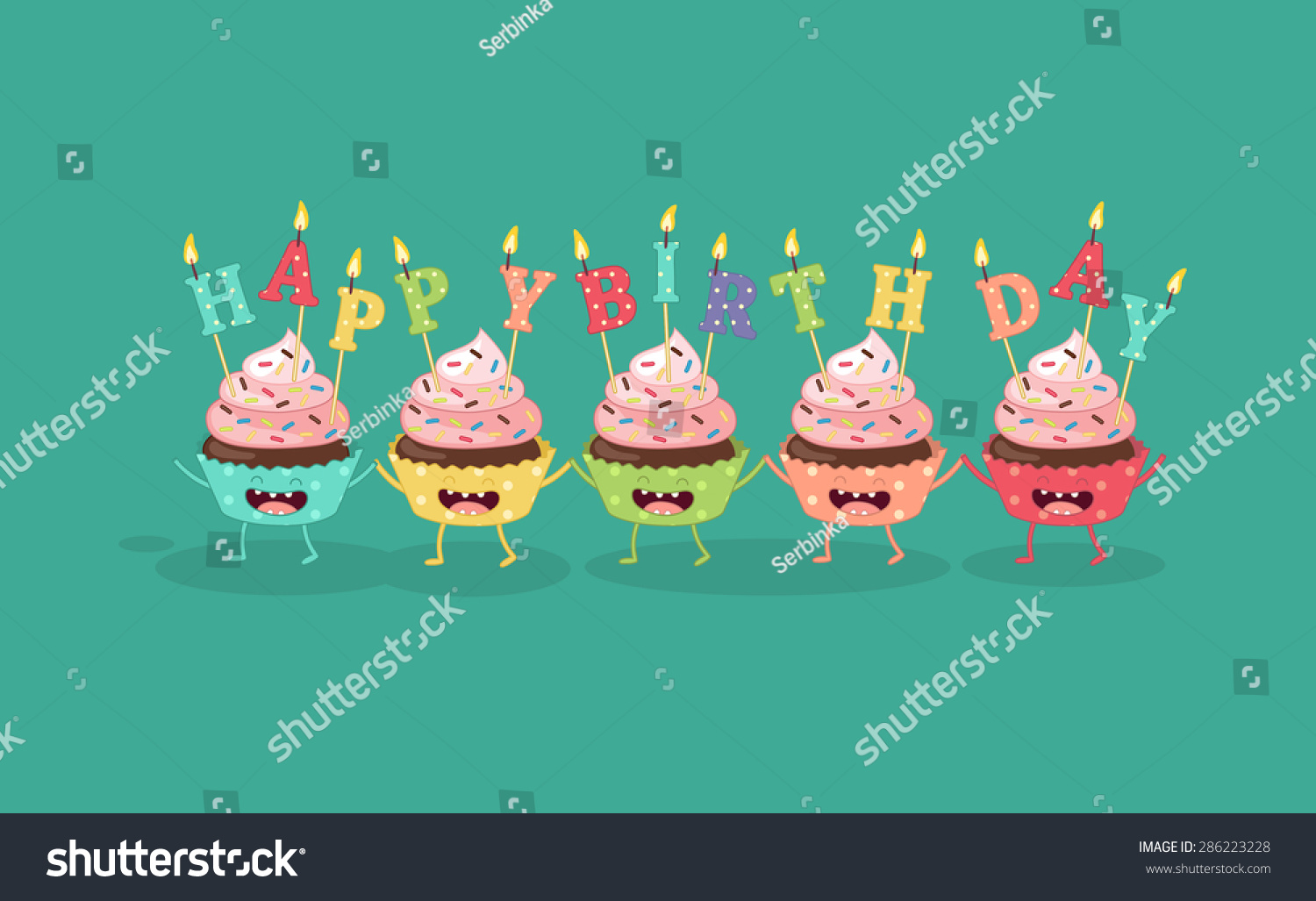 Cupcakes with a candle Happy Birthday Comic characters Vector cartoon