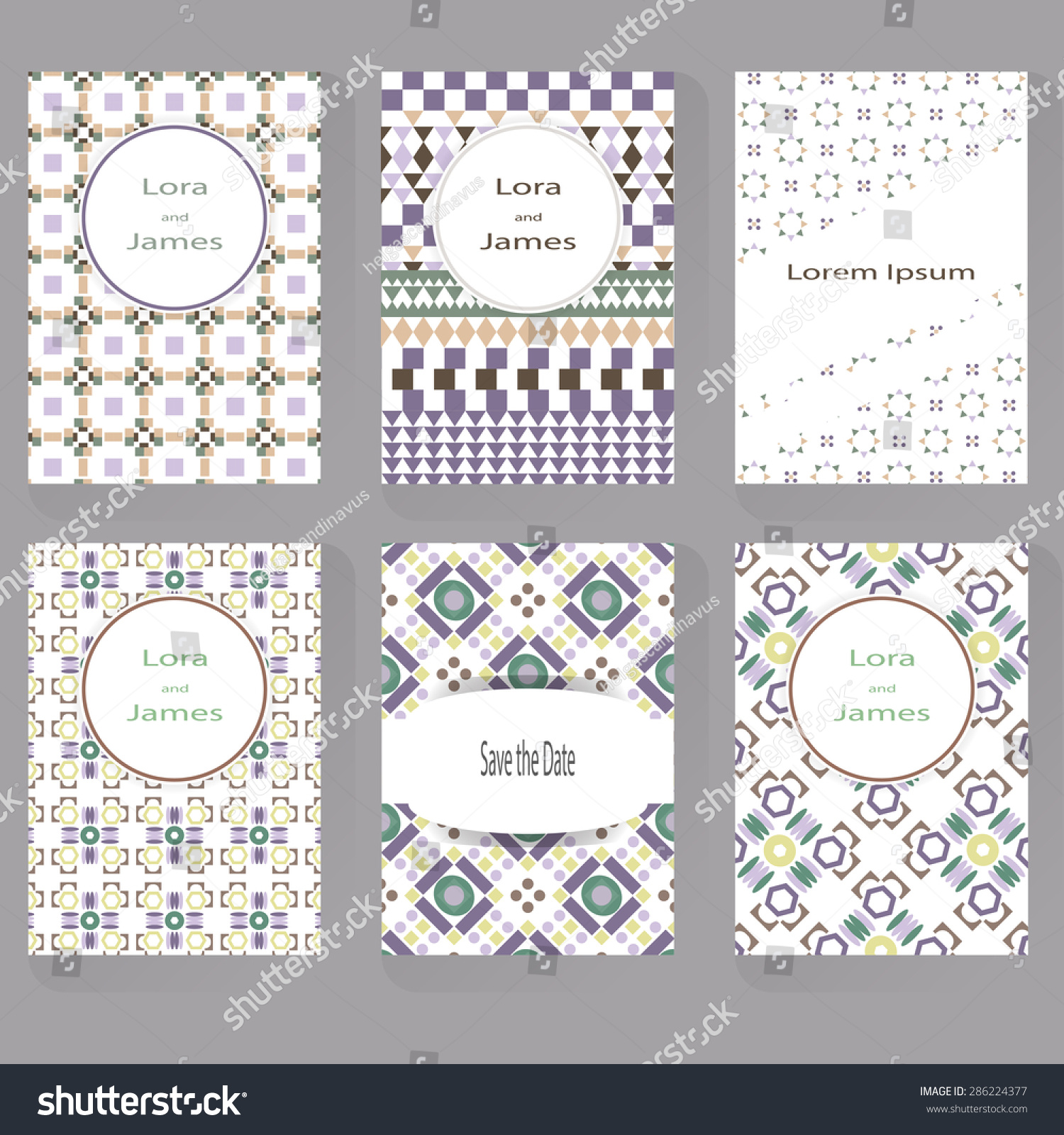 Set Six Greeting Cards Can Be Stock Vector 286224377 - Shutterstock