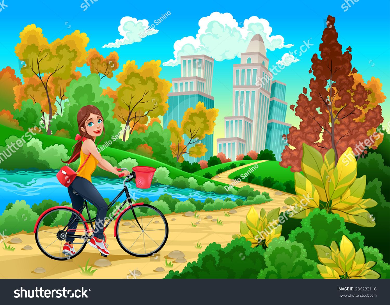 Lady On Bike Urban Park Cartoon Stock Vector 286233116 ...