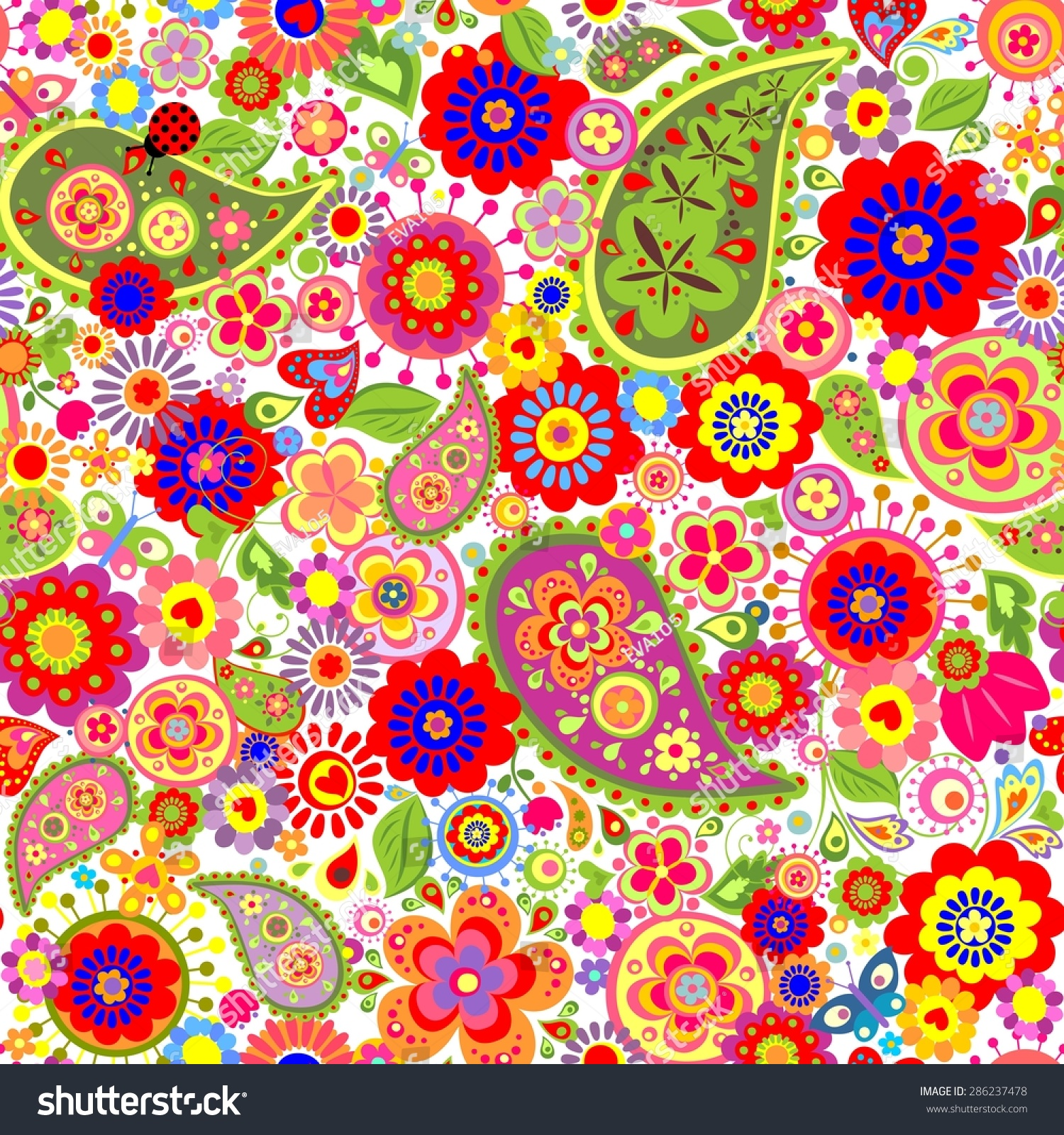 colorful flowers print paisley poppies stock vector 286237478
