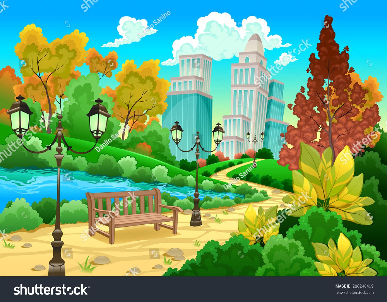 Beautiful garden cartoon - Urban Scenery In A Natural Garden Cartoon Vector Illustration