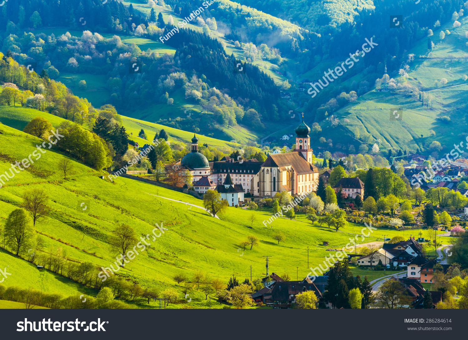 Beautiful Countryside Mountain Landscape With A Monastery